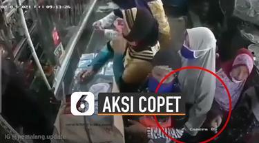 Bereda video emak-emak melakukan aksi copet di warung sembako terekam kamera CCTV.