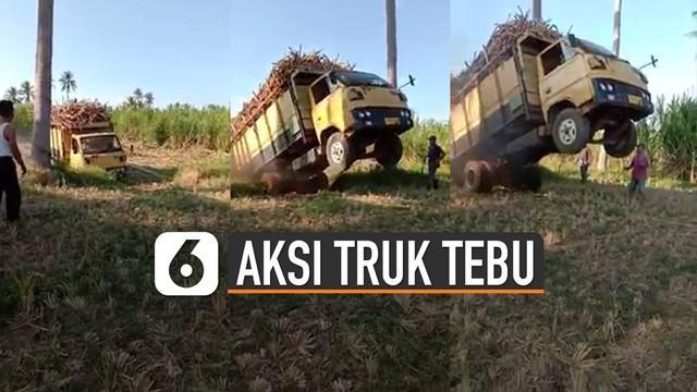 Biasanya aksi mobil-mobil jumping kerap dilakukan di adegan sebuah film. Tetapi aksi ini dilakukan oleh truk yang sedang membawa tebu.