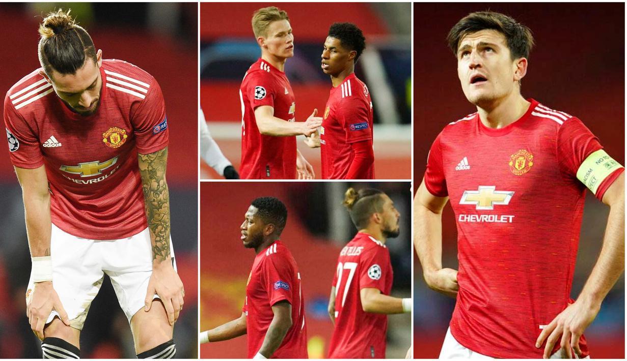 Para pemain Manchester United tak mampu menutupi kekecewaan usai ditaklukkan oleh wakil Prancis, Paris Saint Germain (PSG) pada laga Liga Champions. Bermain di stadion kebanggan Old Trafford, Setan Merah dihajar dengan skor 1-3.