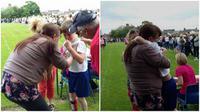 Karena berempati dengan teman penderita 'cerebral palsy' sejumlah murid sekolah membiarkan temannya menang lomba lari. Salut. (Sumber Daily Mail)