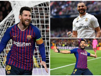 Lionel Messi mustahil untuk dikejar perolehan golnya meski La Liga masih menyisakan laga dua pekan lagi. Berikut deretan top scorer Liga Spanyol hingga pekan ke-36. (Kolase foto-foto dari AFP)