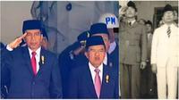 Wakil Presiden JK tidak mengangkat tangan ke kening saat bendera Merah Putih dikibarkan pada upacara hari kemerdekaan Indonesia di Istana.