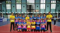 Tim putri PGN Popsivo Polwan lolos ke semifinal PGN Livoli 2017 Divisi Utama usai meraih kemenangan kedua di penyisihan Grup Q. Popsivo mengalahkan Alko Bandung 3-0 di GOR Dimyati, Tangerang, Minggu (3/12/2017). (Humas PBVSI)