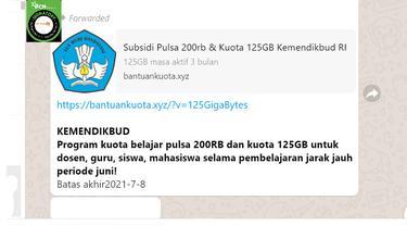 Cek Fakta Liputan6.com menelusuri informasi cara mendapat pulsa 200 ribu dan kuota 125 GB periode Juni dari Kemendikbud