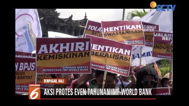 Ratusan pengunjuk rasa turun ke jalan tolak gelaran Annual Meeting IMF-World Bank Group di Nusa Dua, Bali, dibubarkan.
