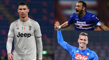 Fabio Quagliarella kudeta Cristiano Ronaldo usai dua gol yang dicetak ke gawang Udinese. Sementara itu Ronald membayangi dibawahnya dengan selisih satu gol saja. (Kolase Foto AFP)