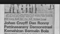 Koran yang memberitakan pertemuan Johan Cruyff dan Ronny Pattinasarany di Jakarta. (Bola.com/Dok. Pribadi Keluarga Pattinasarany)