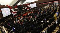 Suasana pelantikan anggota DPR, MPR, dan DPD di Kompleks Parlemen, Jakarta, Selasa (1/10/2019). Para wakil rakyat yang terpilih dalam Pemilihan Umum 2019 dilantik hari ini. (Liputan.com/JohanTallo)