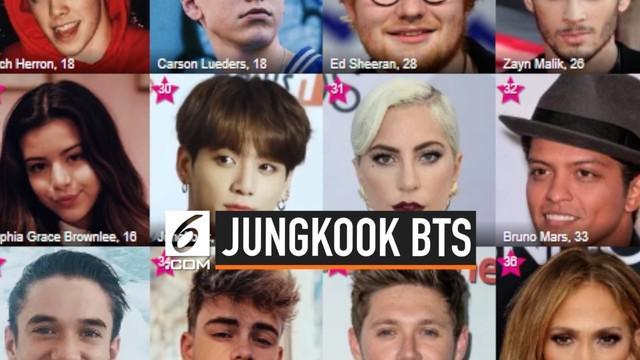 Jeon Jungkook BTS masuk daftar Top 30 penyanyi terpopuler di Amerika Serikat. Ia mampu bersanding dengan penyanyi pop dunia lainnya.