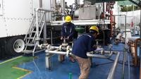 Pembangkit Listrik Tenaga Gas (PLTG) Sambera berkapasitas 2x20 Mega Watt (MW). (Agustina Melani/Liputan6.com)