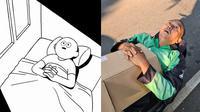 Potret bapak ojol mirip meme yang sedang viral. (Sumber: Instagram/@abangojolbotak)