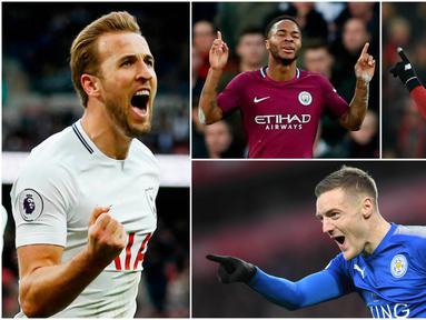 Berikut ini top scorer sementara Premier League musim 2017/2018 hingga pekan ke-25. Harry Kane masih teratas dengan torehan 21 gol. (Kolase foto-foto AP dan AFP)