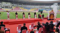 Seremonial launching homebase baru Bhayangkara Solo FC di Stadion Manahan, Jumat (27/11/2020) siang. (Bola.com/Vincentius Atmaja)