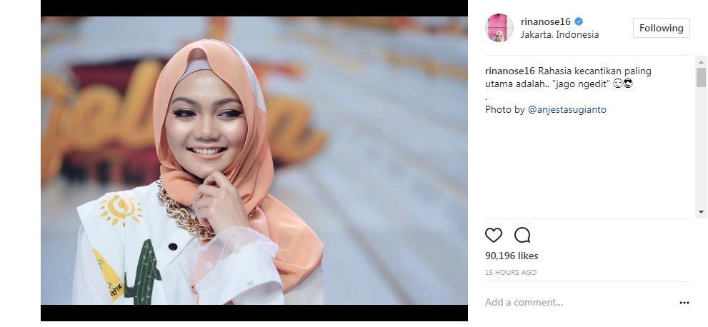 Rina Nose beri tips kecantikan di Instagramnya (Foto: Instagram)