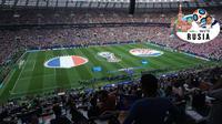 Suasana Stadion Luzhniki tempat berlangsungnya partai puncak Piala Dunia 2018 yang mempertemukan timnas Prancis melawan Kroasia, Minggu (15/7/2018). (Bola.com/Okie Prabhowo)