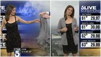 Penyiar ramalan cuaca itu heran kenapa para pemirsa hanya sekedar mengamati pakaiannya, bukan malah mengurusi unjuk kerja.