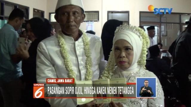 Sepuluh pasangan pengantin siri nikah massal gratis di KUA Ciamis.