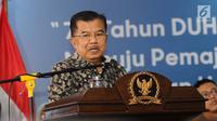 Wakil Presiden Jusuf Kalla saat memberikan sambutan peringatan hari Hak Asasi Manusia (HAM) internasional 2018 di kantor Komnas HAM, Jakarta, Selasa (11/12). (Liputan6.com/Angga Yuniar)