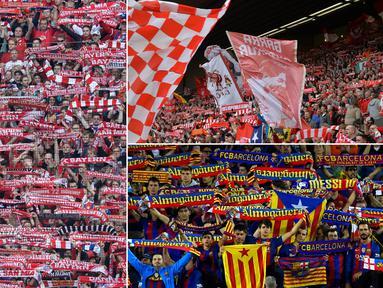 Berikut ini lima liga sepak bola di Eropa dengan rata-rata jumlah penonton terbanyak di stadion pada periode 2010/2011 hingga 2016/2017 berdasarkan data statistik EFPL. (Kolase foto-foto dari AFP)