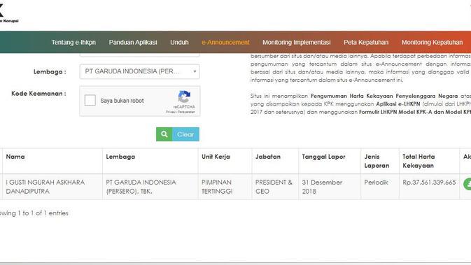 Harta milik I Gusti Ngurah Askhara atau Ari Askhara, sang mantan Dirut Garuda Indonesia. (www.elhkpn.kpk.go.id)
