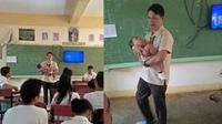 kisah haru guru gendong bayi murid (foto: Facebook/suazoystefanielenin07)