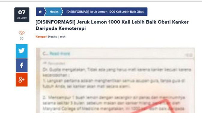 [Cek Fakta] Benarkah Air Perasan Lemon Bisa Sembuhkan Kanker?