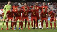 Timnas Belgia dengan 1.746 poin masih kokoh di puncak daftar peringkat terbaru yang dikeluarkan oleh FIFA. (AFP/John Thys)