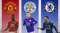 Premier League - Pemain Jamie Vardy, Marcus Rashford, Christian Pulisic (Bola.com/Adreanus Titus)