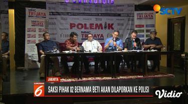 TKN Jokowi-Ma'ruf berencana laporkan saksi paslon 02 bernama Beti Kristiana ke polisi karena dianggap berikan kesaksian palsu.