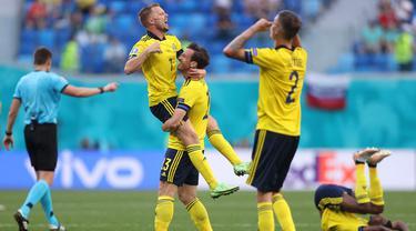 Foto Piala Eropa: Unggul Tipis 1-0, Swedia Bawa Poin Penuh Atas Slovakia di Laga Grup E Euro 2020