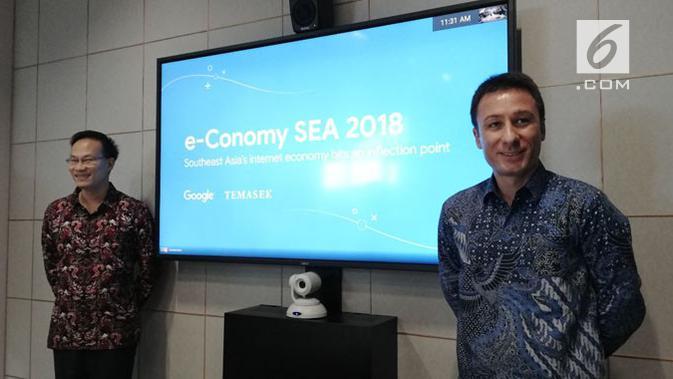 Managing Director, Google Indonesia, Randy Jusuf dan  Head of Strategy and Insights Google, Samuele Saini. Liputan6.com/ Andina Librianty