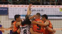Palembang Bank Sumsel Babel mereaih kemenangan perdana di Proliga 2018. Tim asuhan Samsul Jais itu menang 3-2 atas BVN Bekasi di GOR Temenggung Abdul Djamal, Batam, Minggu (28/1/2018). (Humas PBVSI)