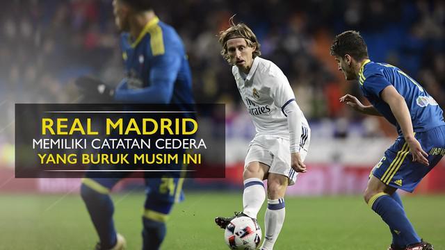 Berita video motion grafis catatan buruk cedera Real Madrid pada musim 2016-2017.