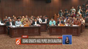 Mahkamah Konstitusi kembali gelar sidang sengketa hasil Pilpres 2019 dengan agenda mendengarkan jawaban pihak termohon.