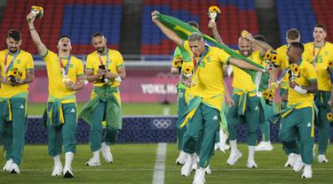 FOTO: Taklukkan Spanyol, Brasil Rebut Emas Sepak Bola Olimpiade Tokyo 2020