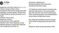 Unggahan viral dari pengguna Facebook Ali Akbar menceritakan kronologi pemilik akun Dewa_Kipas diblokir di Chess.com (Foto: Screenshot Facebook Ali Akbar/ Twitter: @mosouoroch1)