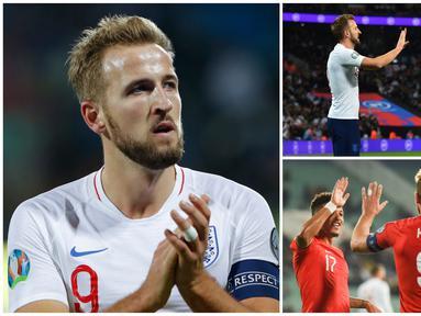 Harry Kane kembali menunjukan kapasitasnya sebagai mesin gol yang menjadi andalan Timnas Inggris. Satu golnya saat melawan Kosovo membuat bomber Tottenham ini menjadi pencetak gol terbanyak Kualifikasi Piala Eropa 2020. (Kolase Foto dari AFP)