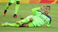 Selebrasi Roberto Firmino sete;ah mencetak gol untuk Liverpool ke gawang AC Milan pada ajang ICC 2016, Minggu (31/7/2016). (ESPN)