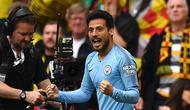 Ekspresi pemain Manchester City, David Silva, setelah membobol gawang Watford pada final Piala FA di Stadion Wembley, Sabtu (18/5/2019) malam waktu setempat. (AFP/Daniel Leal-Olivas)