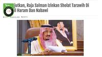 Gambar Tangkapan Layar Berita Tentang Raja Salman