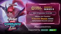 Jadwal dan Live Streaming Vidio Community Cup Ladies Season 4 Mobile Legends Bang Bang Series 8 di Vidio, Rabu 15 September 2021. (Sumber : dok. vidio.com)