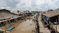 Salah satu aliran anak sungai Batanghari di Kabupaten Tanjabbar, Jambi. (Bangun Santoso/Liputan6.com)