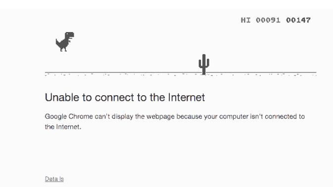 Permainan T-Rex di Google Chrome. Foto: Business Insider