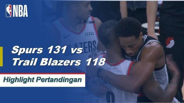 DeMar DeRozan memimpin San Antonio dengan 36 poin untuk pergi bersama dengan delapan rebound ketika Spurs menang atas Trail Blazers, 131-118.