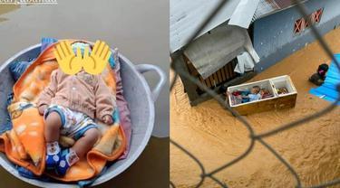Potret Orang Tua Evakuasi Anaknya Saat Banjir