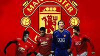 Manchester United - Amad Diallo, Marcus Rashford, Edwin van der Sar, Gerard Pique (Bola.com/Adreanus Titus)