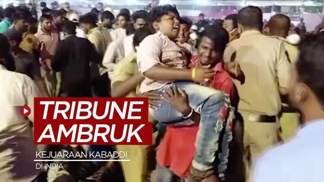 Berita video insiden tribune stadion ambruk saat kejuaraan Kabaddi di India, dilaporkan lebih dari 100 orang terluka, Senin (22/3/2021) waktu setempat.