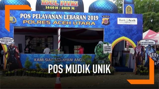 Sebuah pos pemudik di Aceh Utara menampilkan sosok tokoh Avengers: Endgame berpakaian Islami. Tak hanya itu, pos juga menyediakan berbagai fasilitas untuk memanjakan pemudik.
