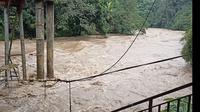 Debit air di Sungai Ciliwung, Jembatan Panus, Depok meningkat. Warga Jakarta di bantaran Ciliwung diminta waspada banjir. (Liputan6.com/Dicky)