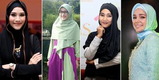 Belakangan, busana muslim seperti menjadi trand dikalangan masyarakat Tanah Air, termasuk selebriti. Bahkan alasan pekerjaan, beberapa selebriti melepaskan hijab. Bahkan ada yang mengenakan hijab justru makin banyak job. (dok. Bintang.com)
